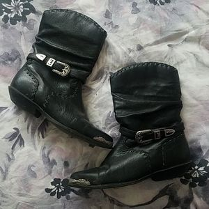 Black and silver cowgirl boots